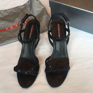 Prada Black Patent Wedge Bow Sandals